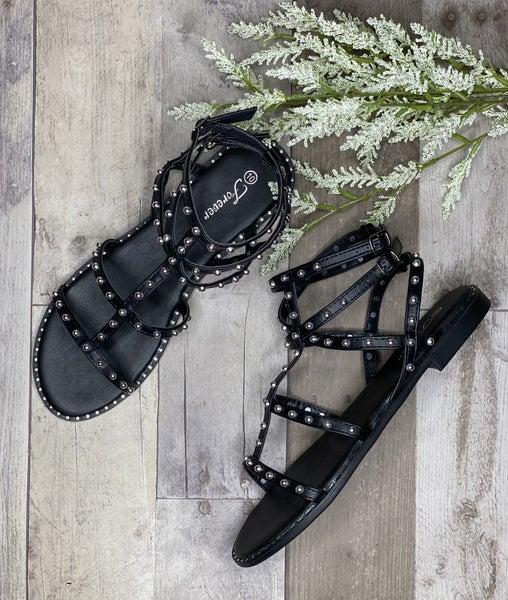 Black Studded Strap Sandal