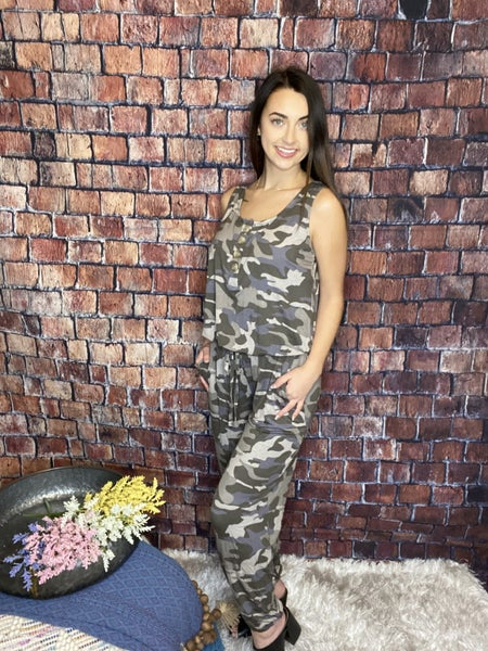 Zenana Camouflage Tank Style Jumpsuit With Pockets
