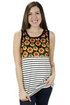 Sunflower & Stripes Tank