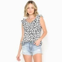 White & Black Leopard Tank With Ruffled Sleeves