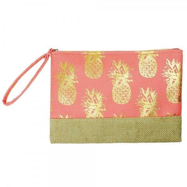 Metallic Pineapple Print Canvas Travel Pouch Wristle ** 3 Colors**