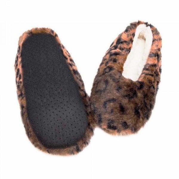 Faux Fur Leopard Print Sherpa Indoor Slippers