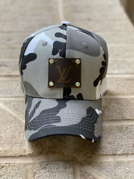 Upcycled Couture Baseball Hat Gray Camo