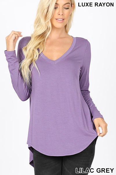Lilac Grey Luxe Rayon Long Sleeve Top
