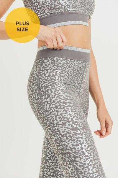 Mono B Metallic Animal Print High Waist Leggings