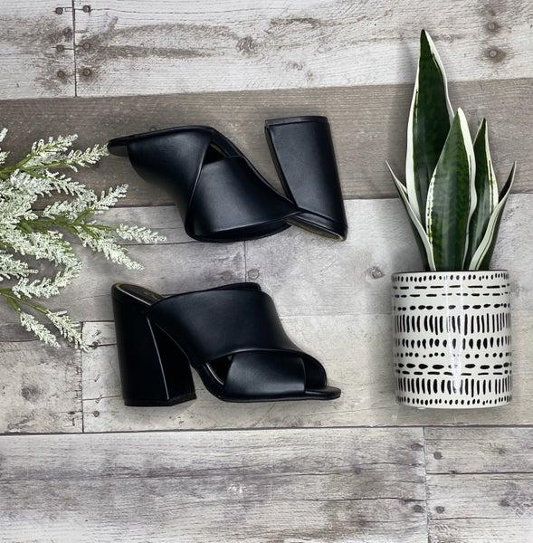 Black Open Toe X Strap Casual Mule Sandal
