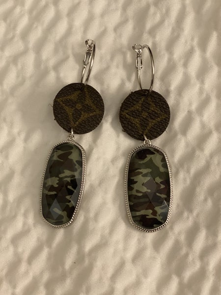 Upcycled Couture Camo Dangle Earrings