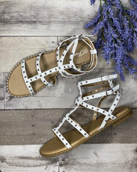 White Studded Strap Sandal