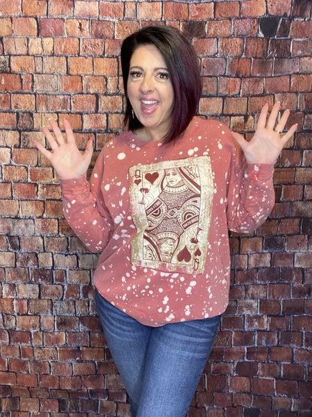 Queen Of  Hearts Distressed Sweatshirt
