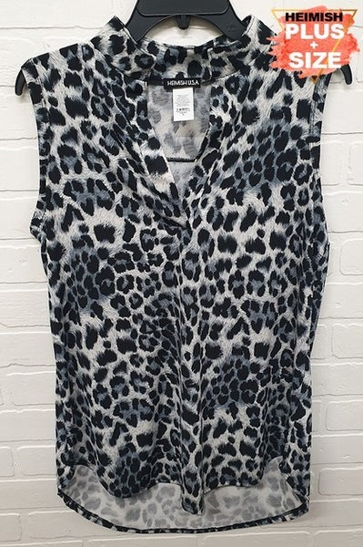 Snow Leopard Sleeveless Mandarin Collar Top