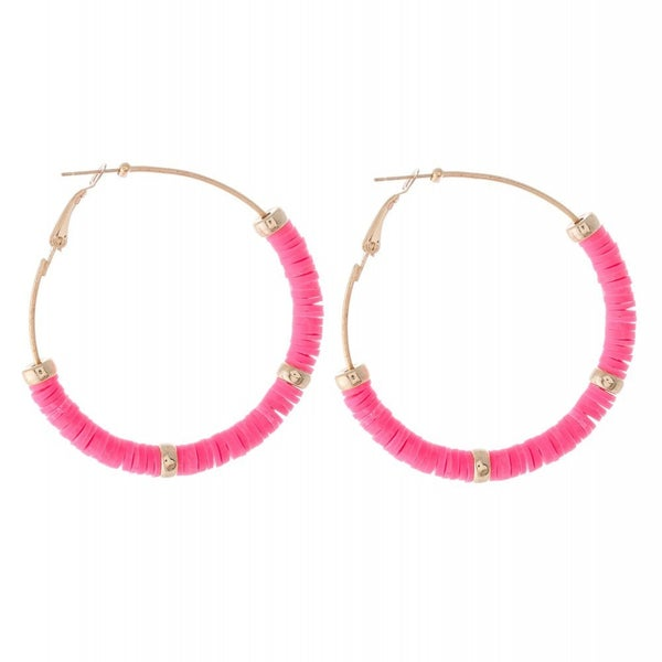 Pink Beaded Hoop Earrings Featuring Gold Bead Accents