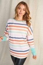 Long Sleeve Multi Color Stripe Knit Open Back
