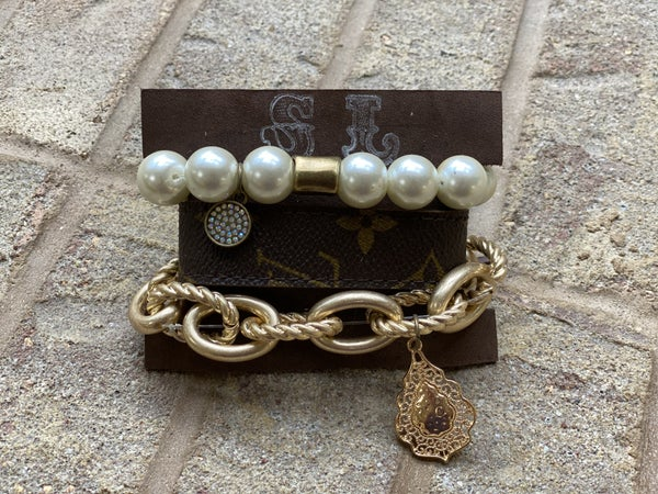 Upcycled Couture Pearl 3 Band Stack!