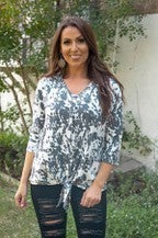 Cow Print Button down Front Tie Top