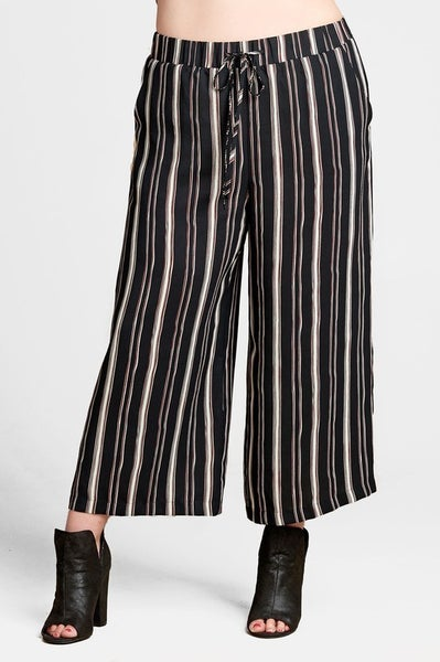 Striped Woven Straight Leg Boho Pant