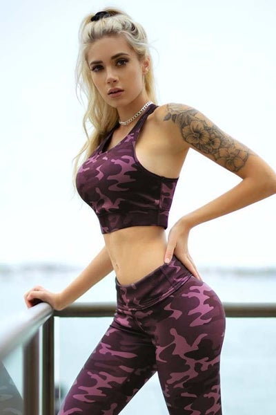 Active Pink Camouflage Sports Bra