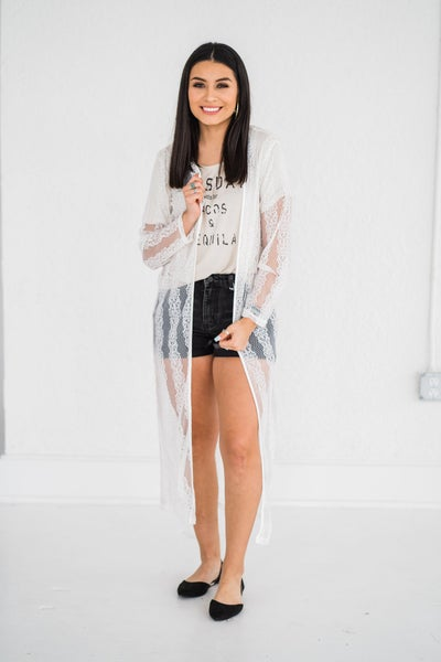 Lace duster cardigan