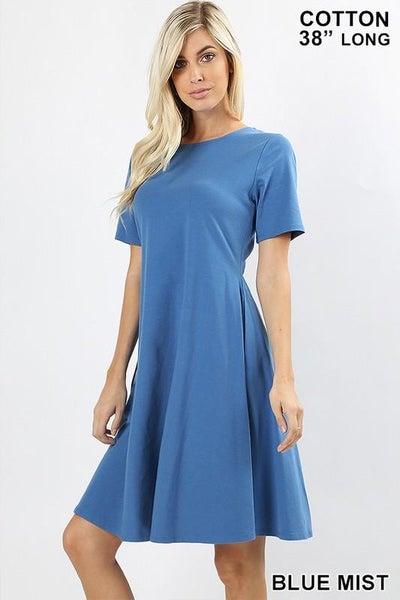Blue Short Sleeve A Line Dress