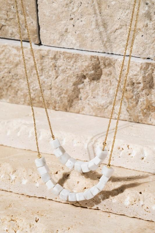 Cube Natural Stone Necklace