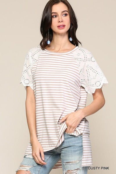 Beautiful Striped Eyelet Lace Raglan Tunic Top