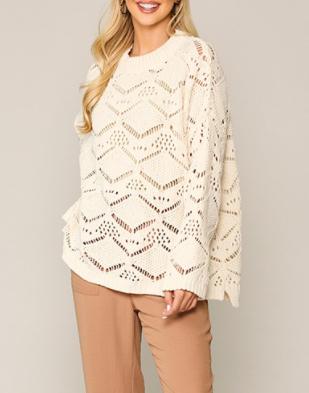 Woven Cutout Sweater