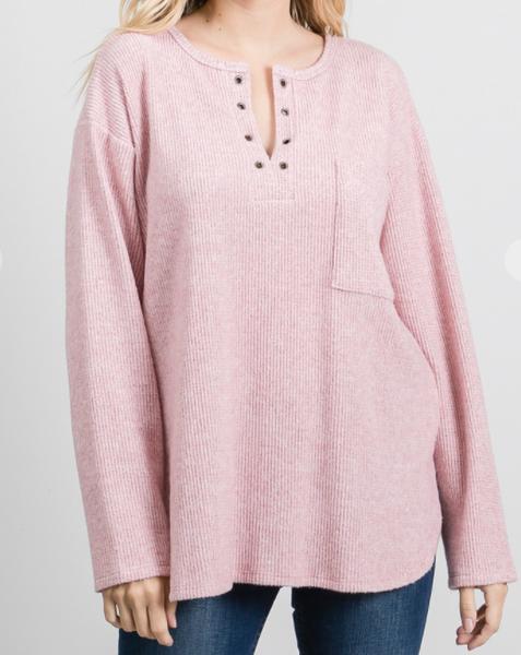 Ribbed Blush Pullover Shirt