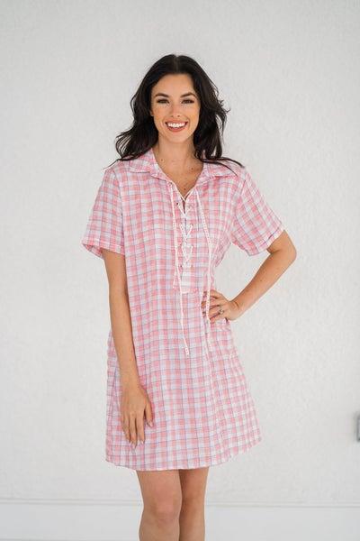 Plaid Kira Dress - Pink