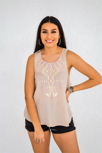 Tribal Embroidered Tank