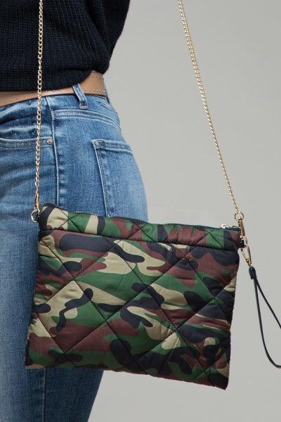 Camo Puffer Cross Body Bag
