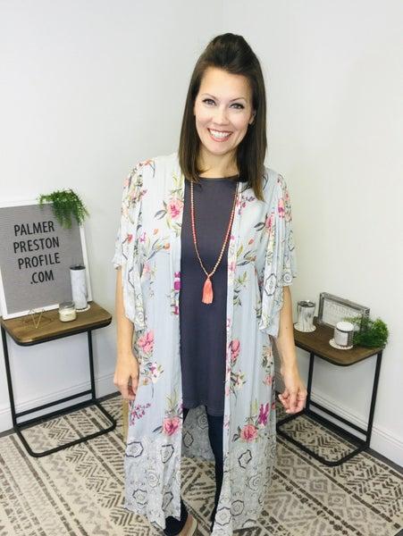 Dove Gray Floral Duster Kimono