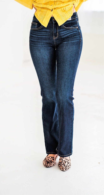 Whiskered Dark Bootcut Jeans Judy Blue