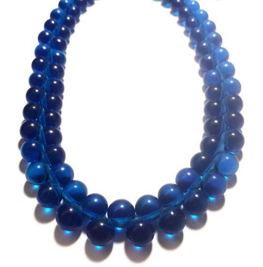 Aqua Blue Button Marco Necklace