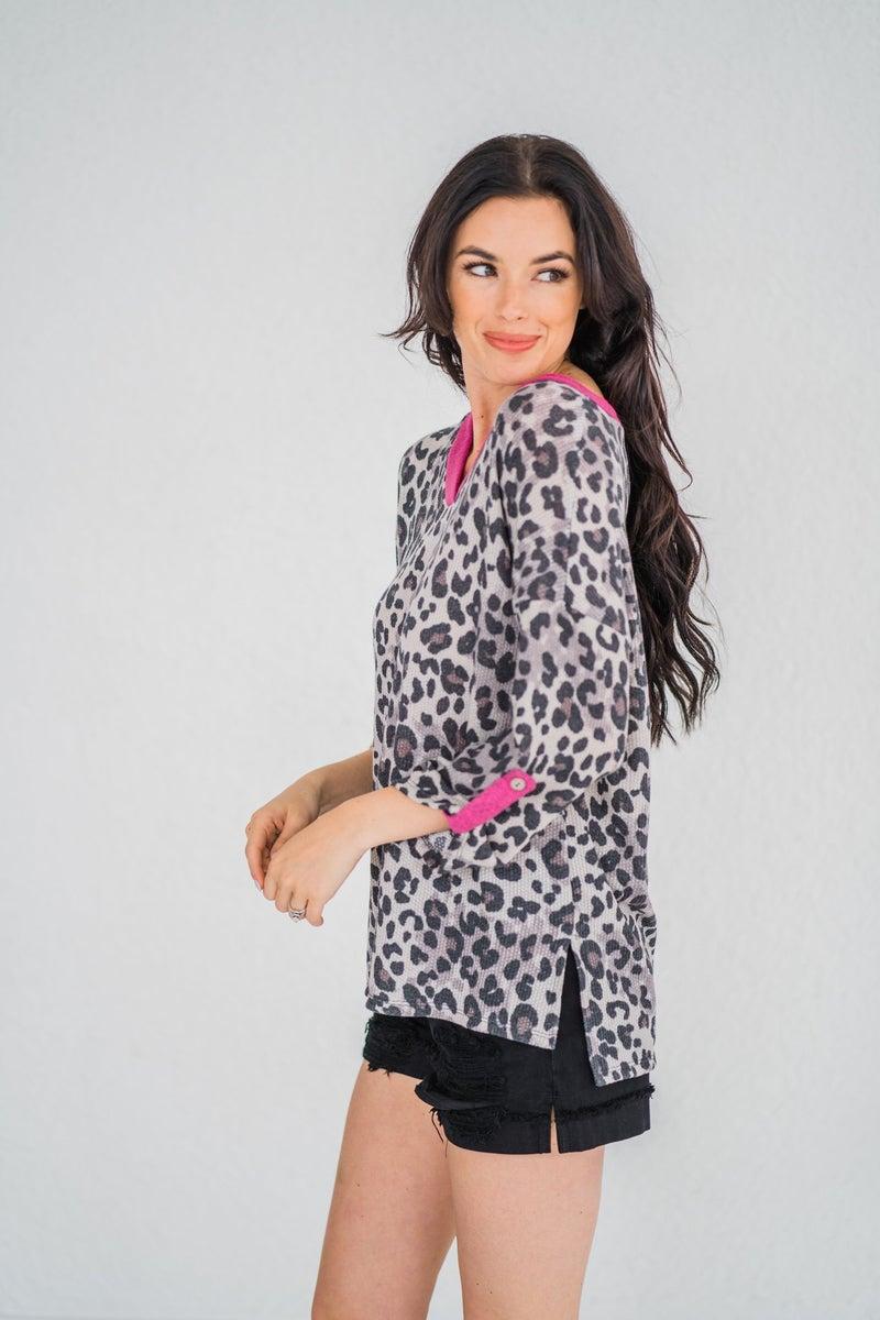 Leopard Print V-Neck Shirt