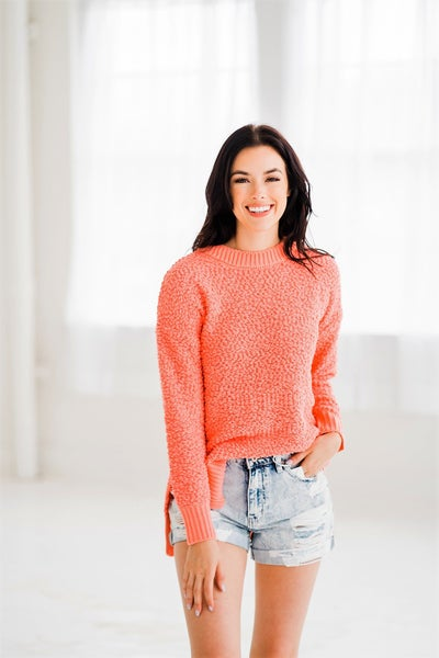 Keep Me Cozy Sweater - Coral