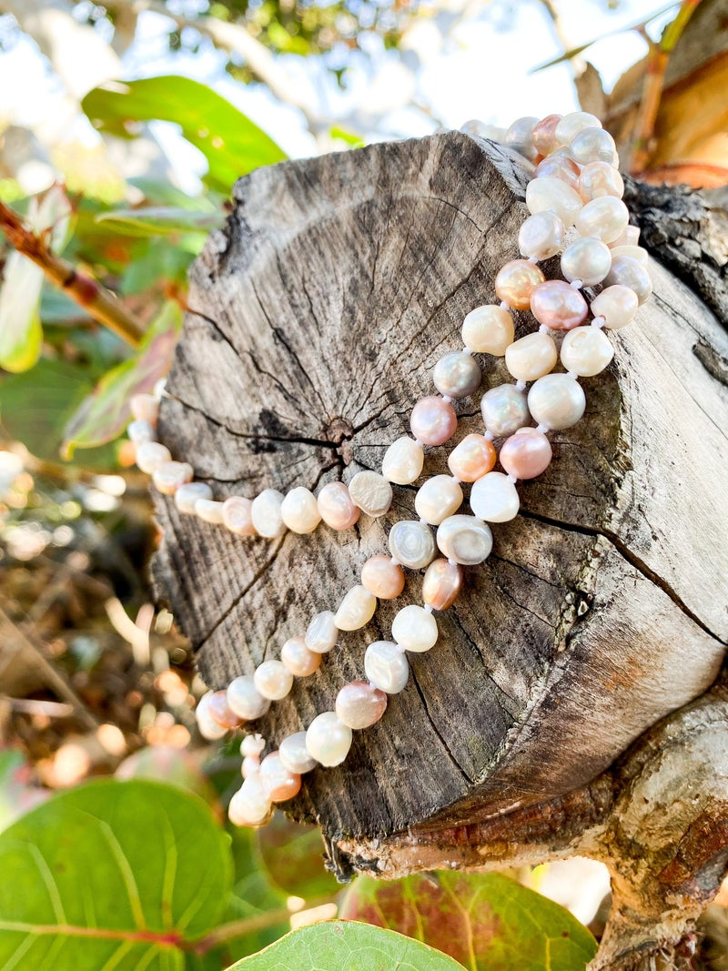 Long Strand Knotted Pearls