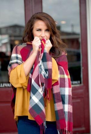 Navy & Garnet Plaid Poncho Shawl