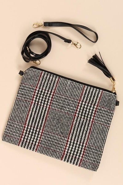Glen Check Crossbody Clutch Bag