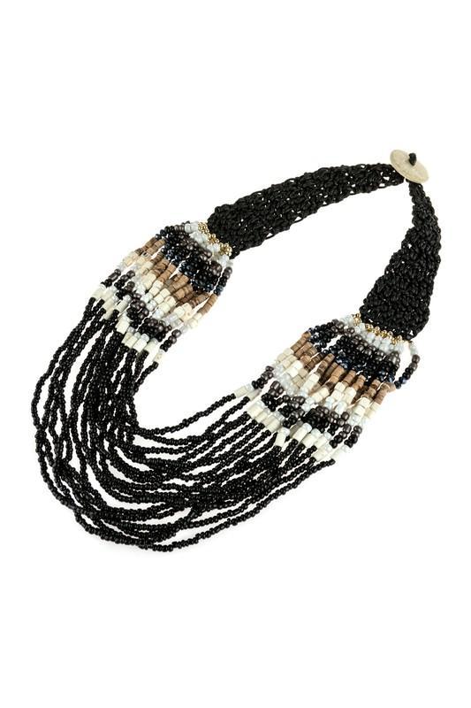 Multi Strand Mixed Bead Bib Necklace