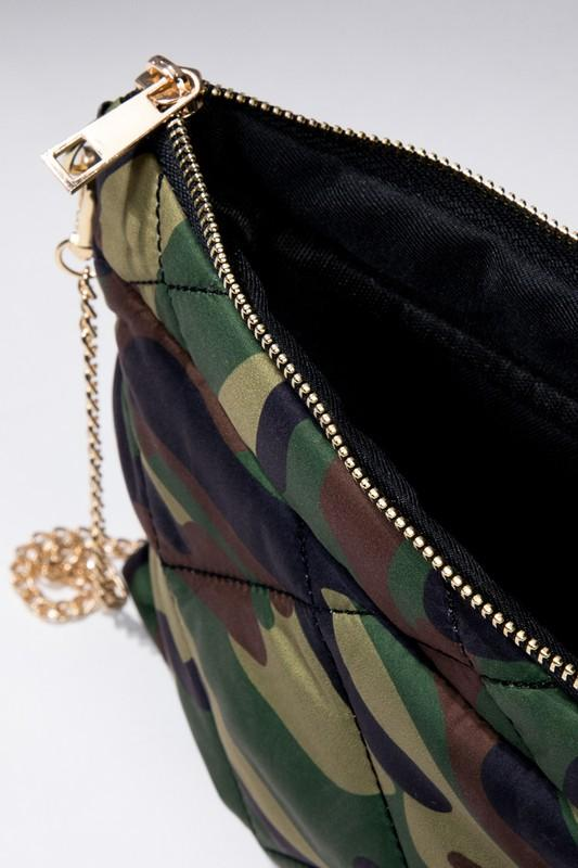 Camo Puffer Cross Body Bag