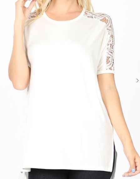 Ivory Lace Sleeve Shirt