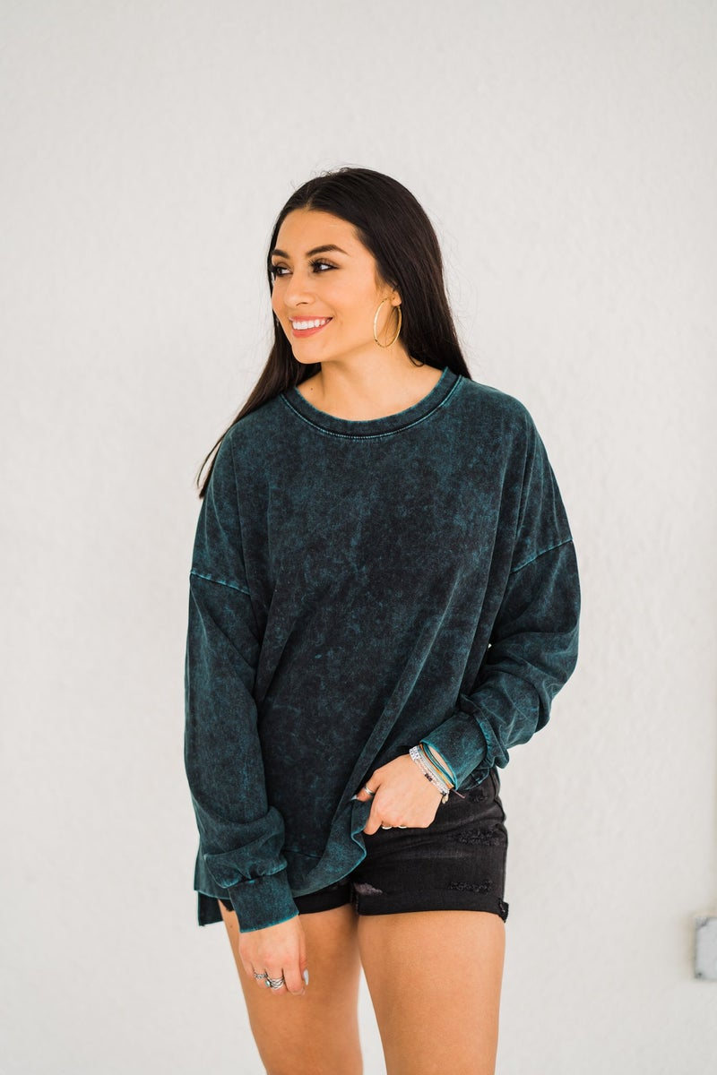 Favorite Washed Top - Forest Green