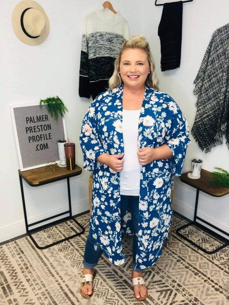 Floral Blue Chiffon Duster