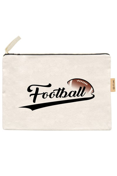 Football Eco Canvas Zippered Pouch