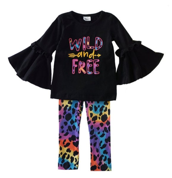 wild free ruffle top with leopard pants set