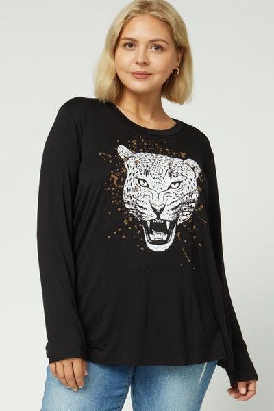 Tiger print graphic scoop neck top