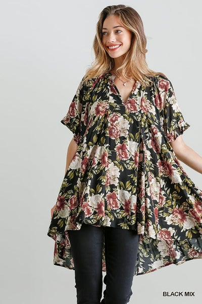 FLORAL PRINT TUNIC HIGH LOW