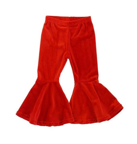 Red flared velvet bell pants