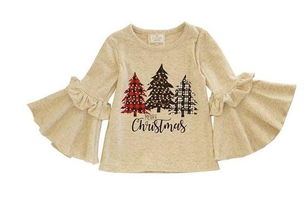 Cream ruffle bell sleeve christmas tree tunic