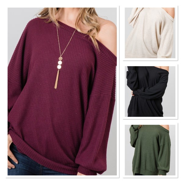 SOLID WAFFLE KNIT ONE SHOULDER