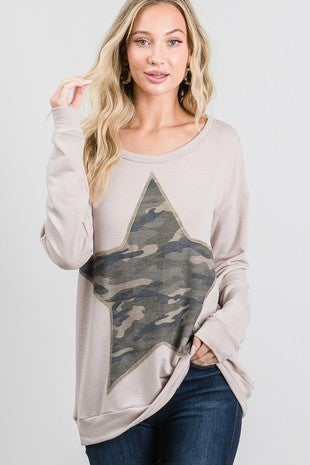 LONGSLEEVE STAR ARMY GREEN TOP